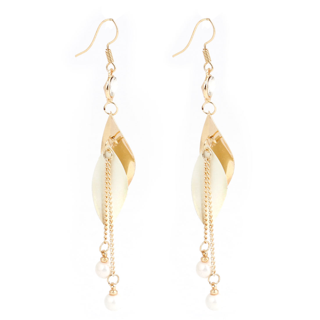 Metal Gold Tone Chain Pendant Dangling Fish Hook Earrings for Women