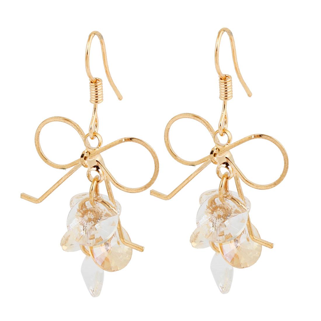 Women Bowknot Clear Plastic Crystal Pendant Hook Earrings Eardrop Pair