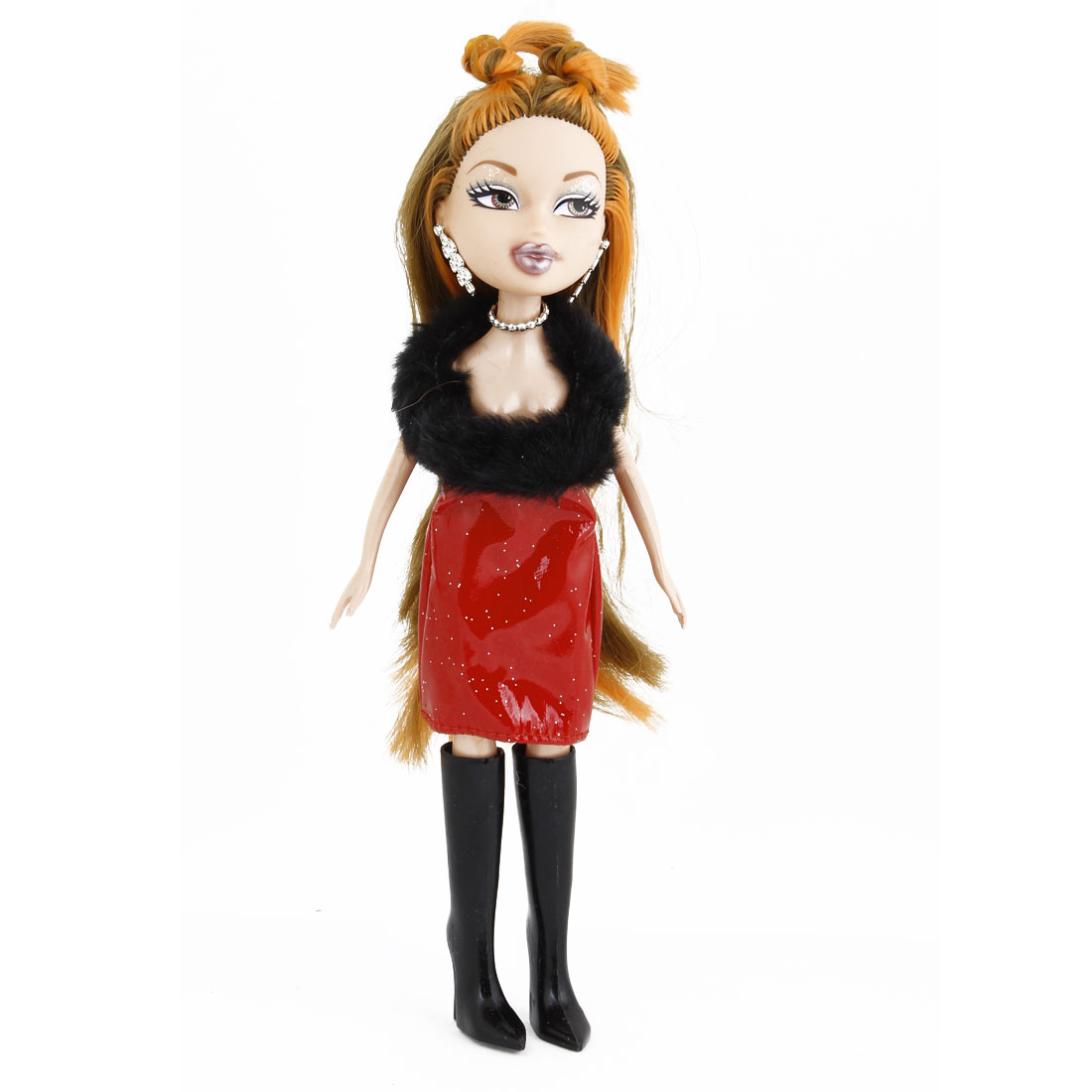 Red Black Dress Decor Long Hair Plastic Maid Doll Toy for Kid
