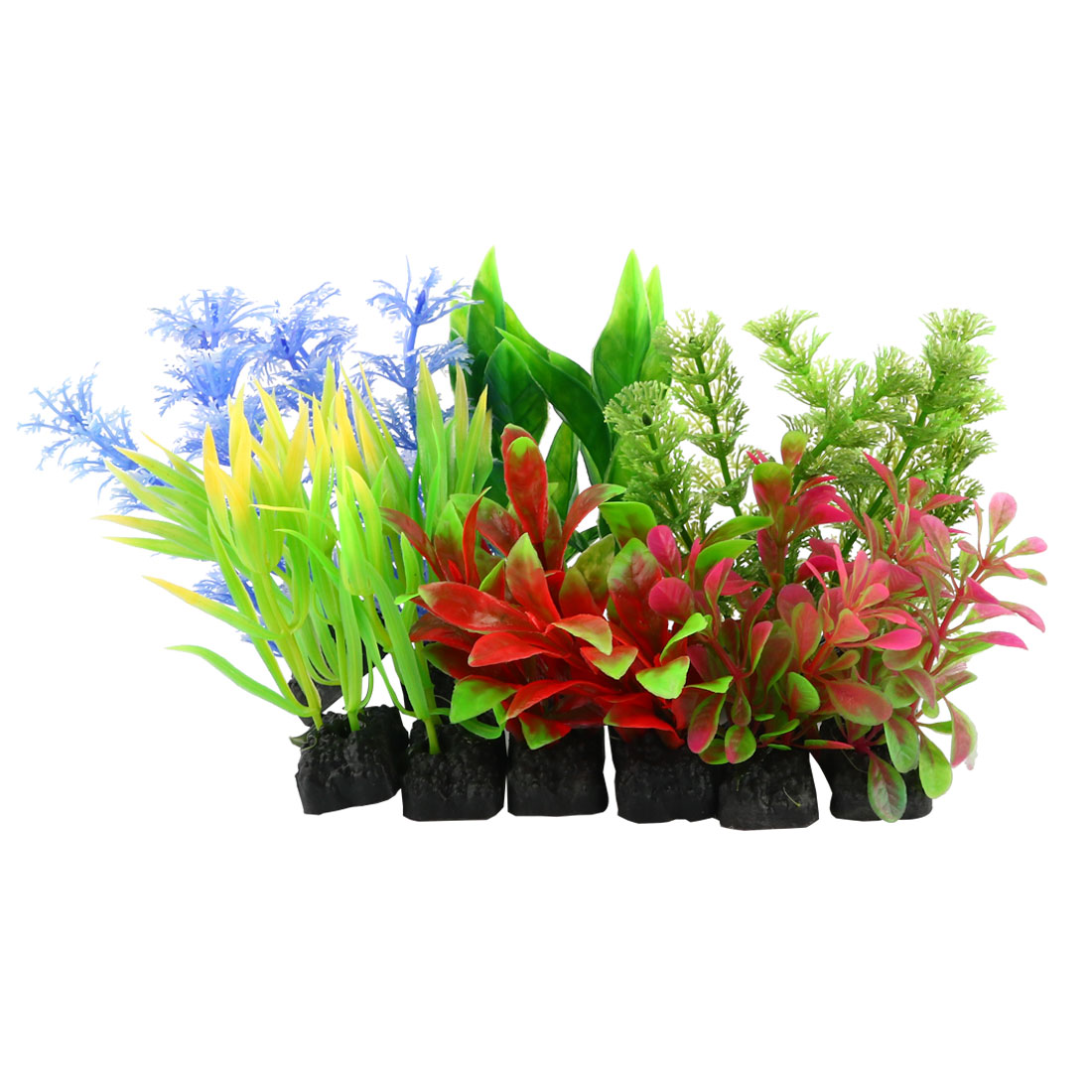 "Fish Tank 3.7"" Manmade Assorted Colored Plastic Aquatic Plants 12 Pcs"