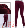 Pregnant Women Stretchy Waist Hip Pockets Cropped Leggings Burgundy XS