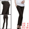Maternity Elastic Waist Slant Pockets Side Dark Khaki Long Pants S