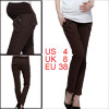 Maternity Dark Brown Color Pleatd Front Detail Casual Long Pants S