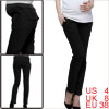 Pregnant Woman Stretchy Waist Pleated Detail Black Casual Pants S