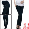 Dark Blue Color Splice Elastic Waist Casual Pants for Motherhood S