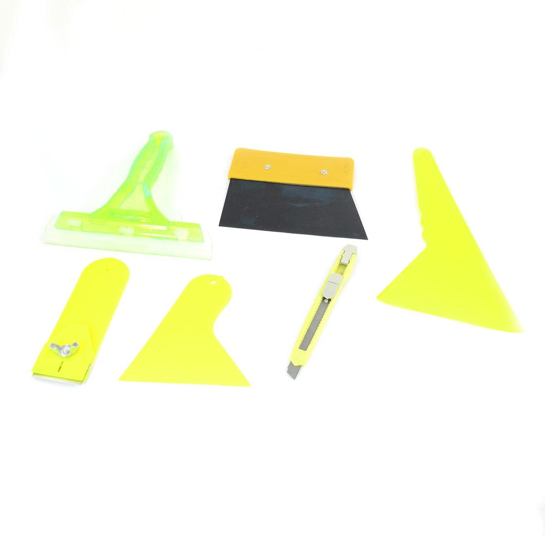 Vehicle Auto Window Film Bubble Scraper Yellow Handle Wiper Tool Set 6 in 1