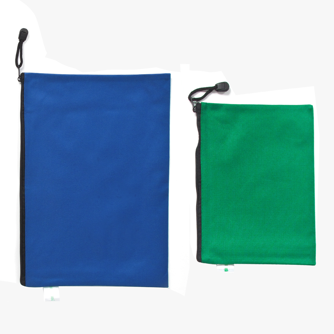2 Pcs Stationery A4 A5 Paper File Document Zip Up Dark Blue Green Bag