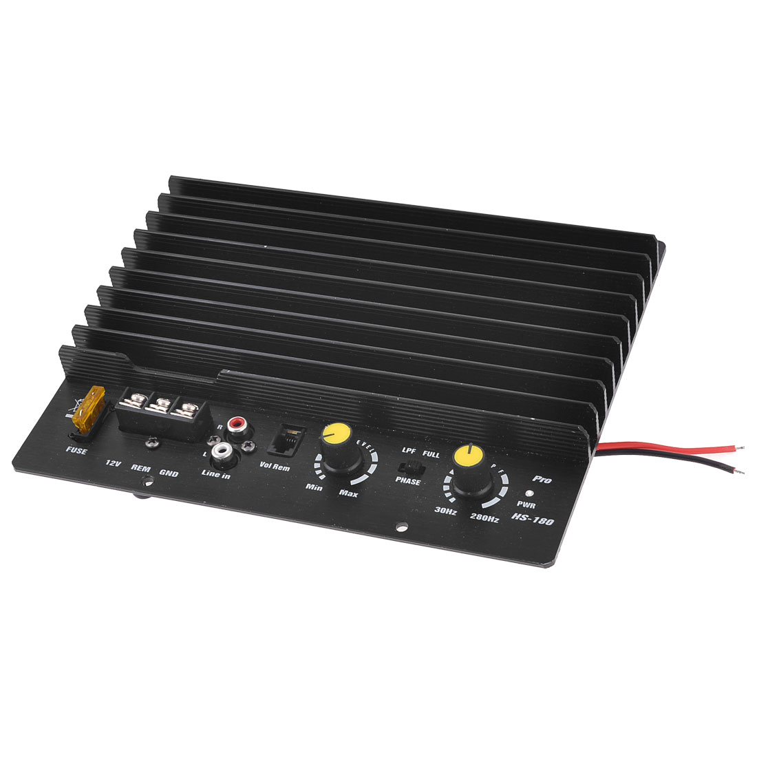 Automobile Car 2 Channel Aluminum Casing Stereo Audio Amplifier Black 12VDC