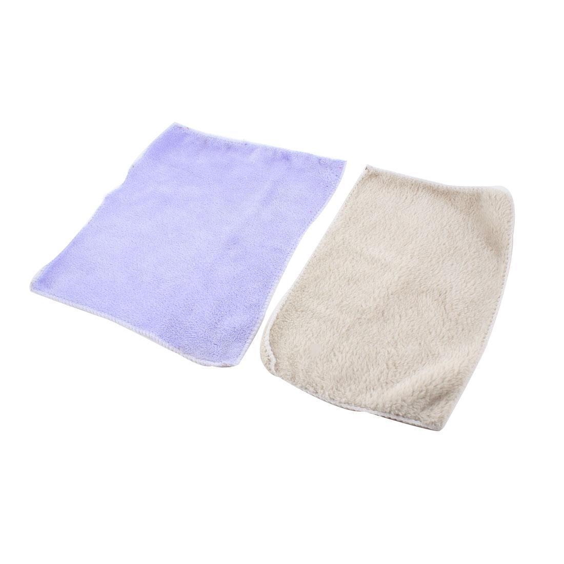 2Pcs Light Purple Beige Cleaning Towel Wash Towel Cloth for Car Door Glass