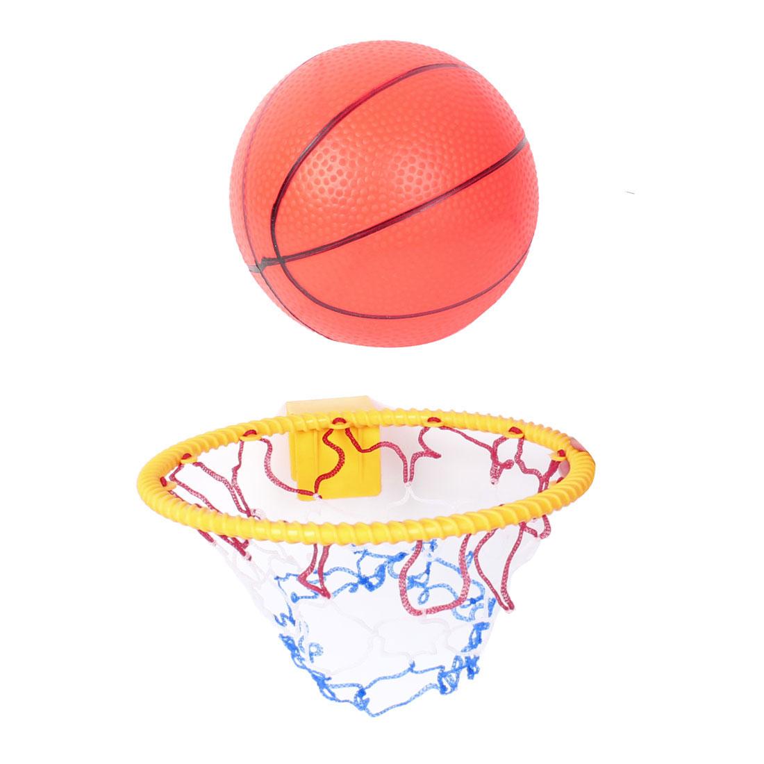 Kids Sports Toy Gift Set Yellow Plastic Basketball Hoop w Inflatable Mini Ball