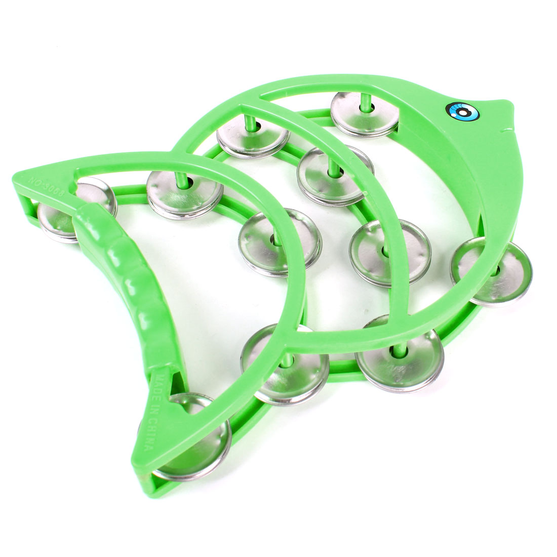 Children Metal Cymbal Fish Shape Green Plastic Tambourine Shaking Toy