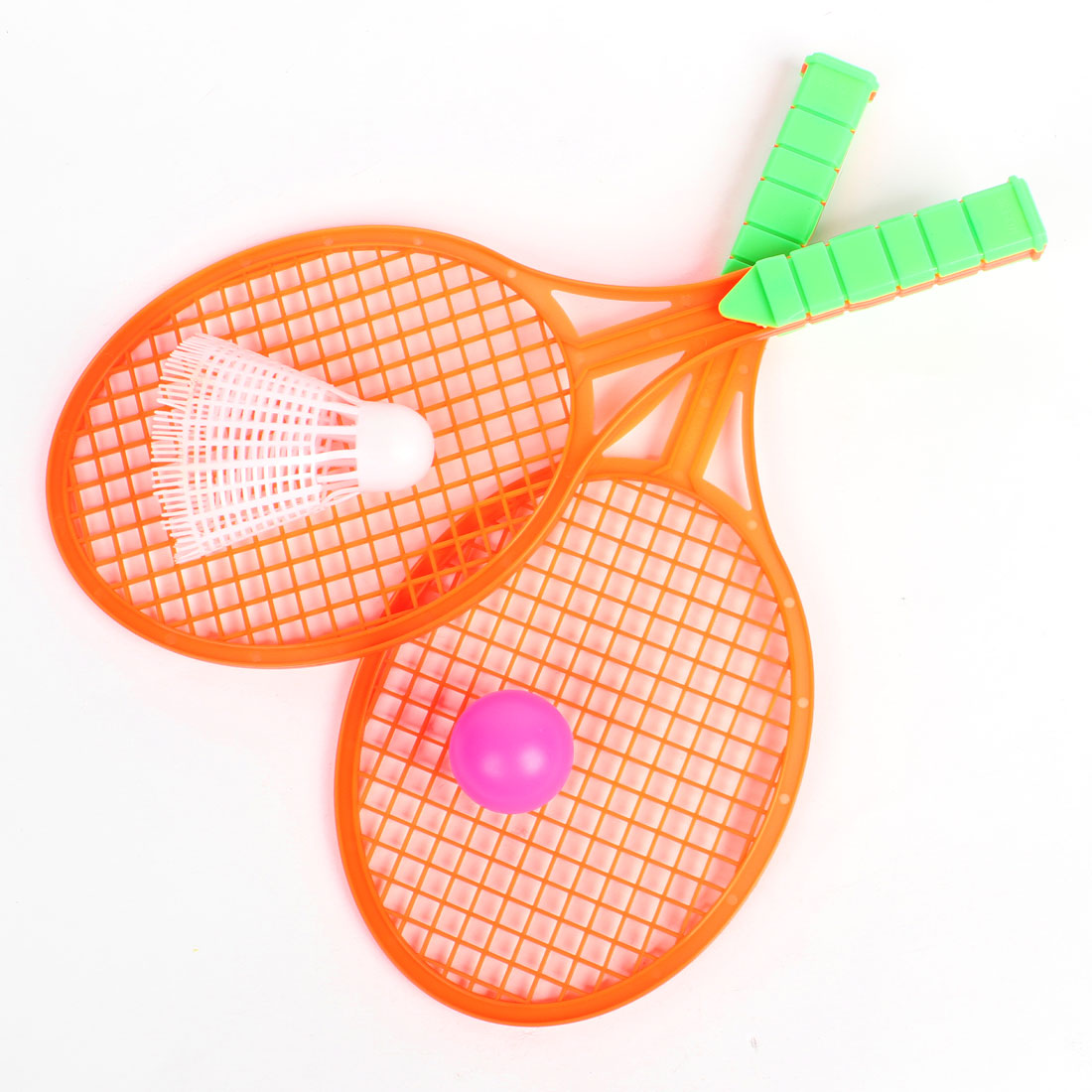 Child Kid 3 in 1 Plastic Pingpong Shuttlecock Orange Red Badminton Racket Set