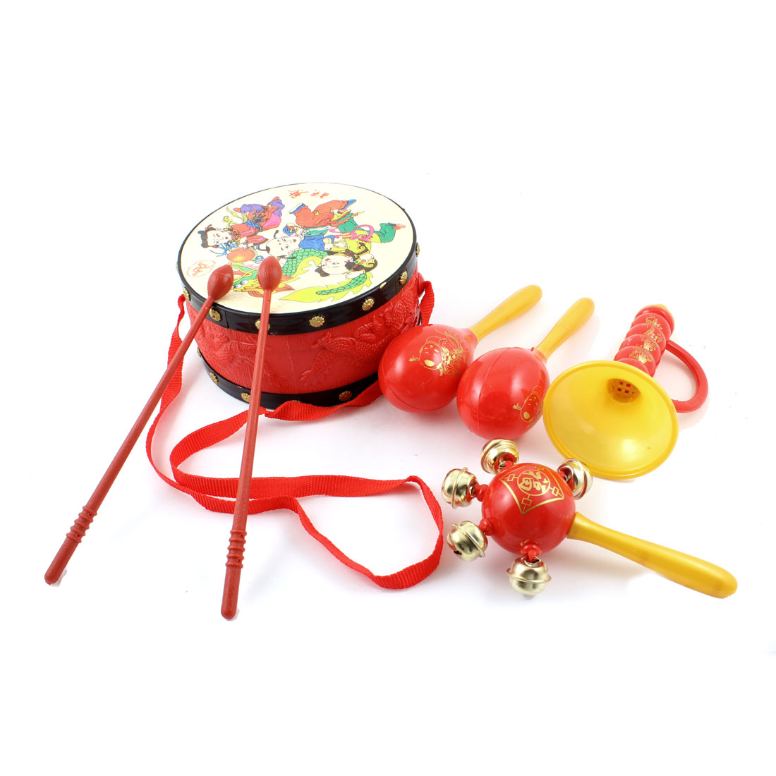 Kids Tambourine Beat Trumpet Two Sides Musical Instrument Chinese Drum Toy Set