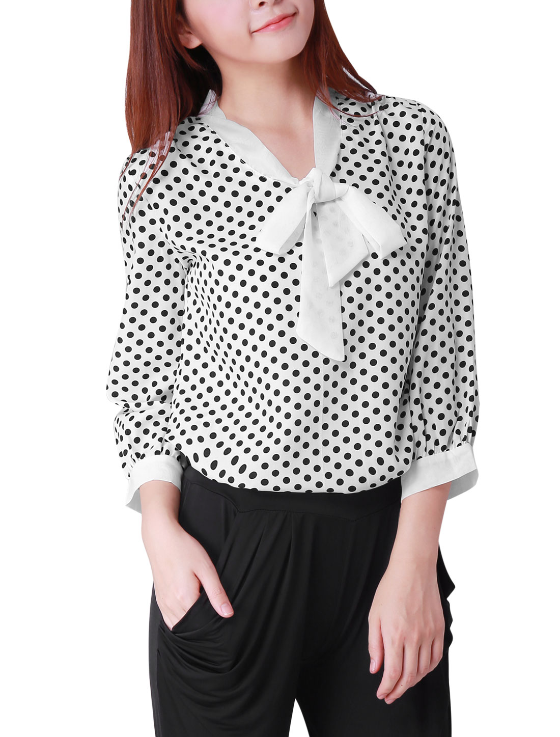 Stylish Women Polka-Dots Printed White Casual Top Blouse L
