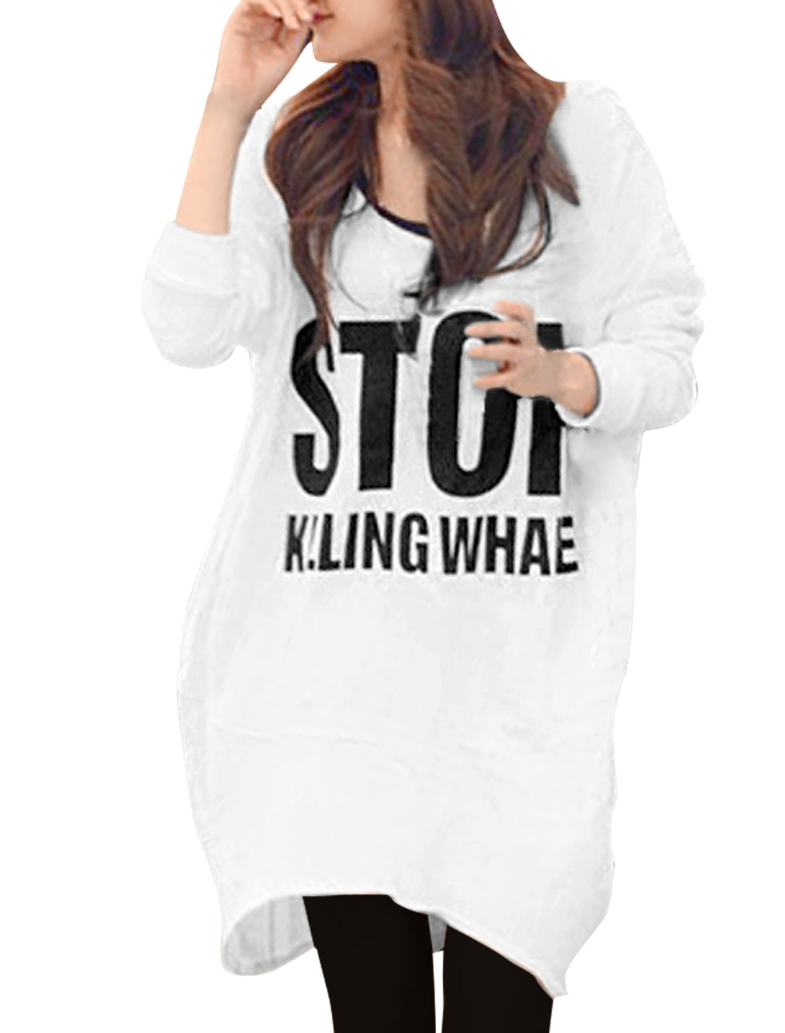 Ladies V-Neck Long Sleeve Letters Pattern White Hooded Shirt XS