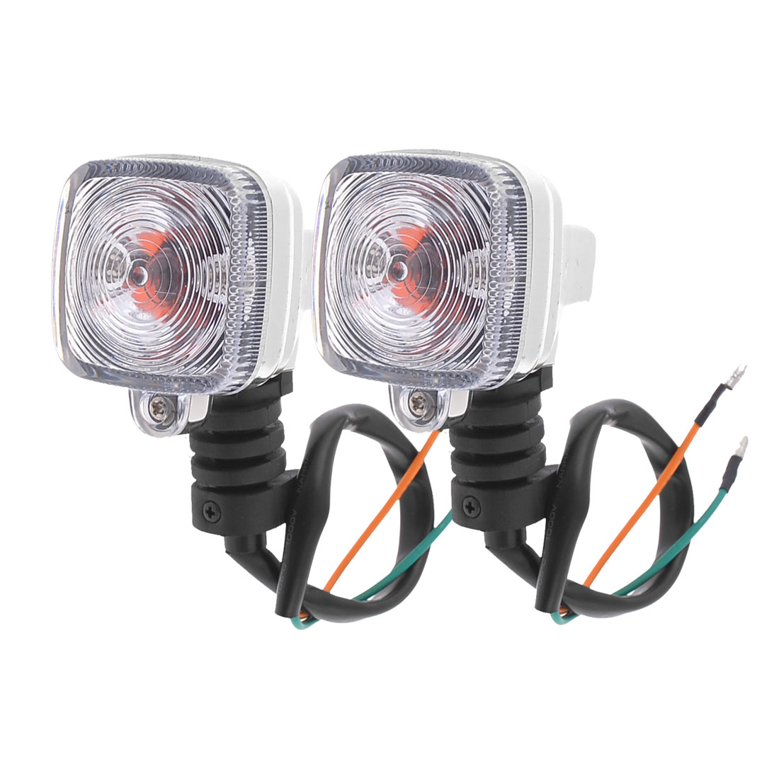 2PCS Motorbike Universal Square Shape Orange LED Turn Signal Light Steering Lamp