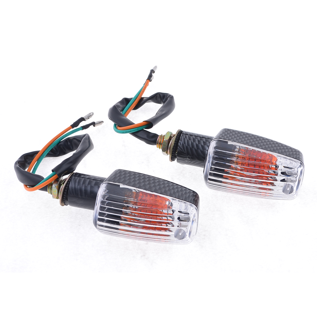 2 Pcs Carbon Fiber Pattern Yellow LED Motorcycle Turn Signal Light Lamp