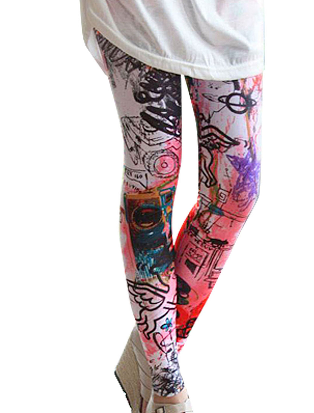Women Elastic Waist Multicolor Graffiti Pattern Skinny Leggings L
