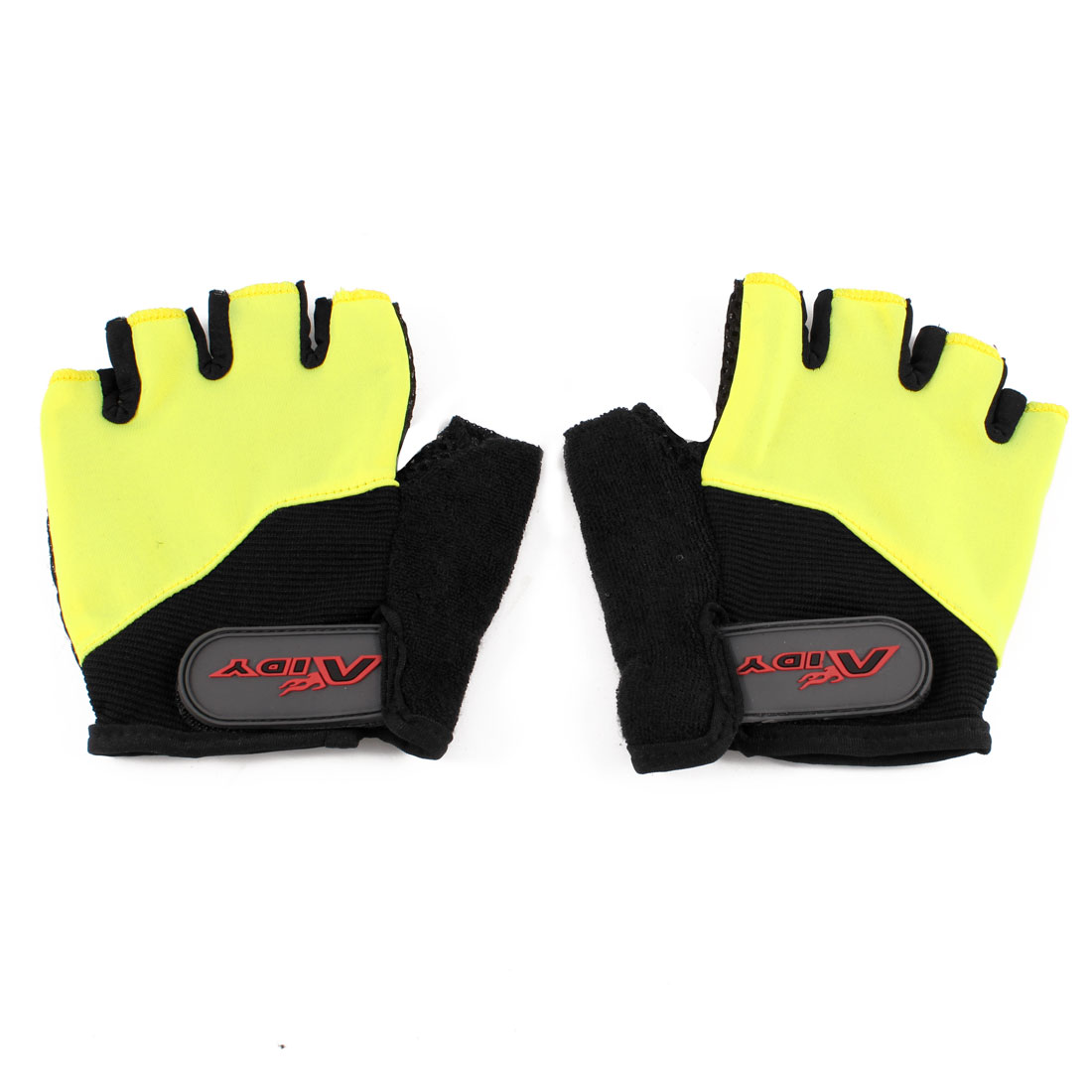 Pair Outdoors Yellow Black Half Finger Breathable Sports Cycling Gloves Size M
