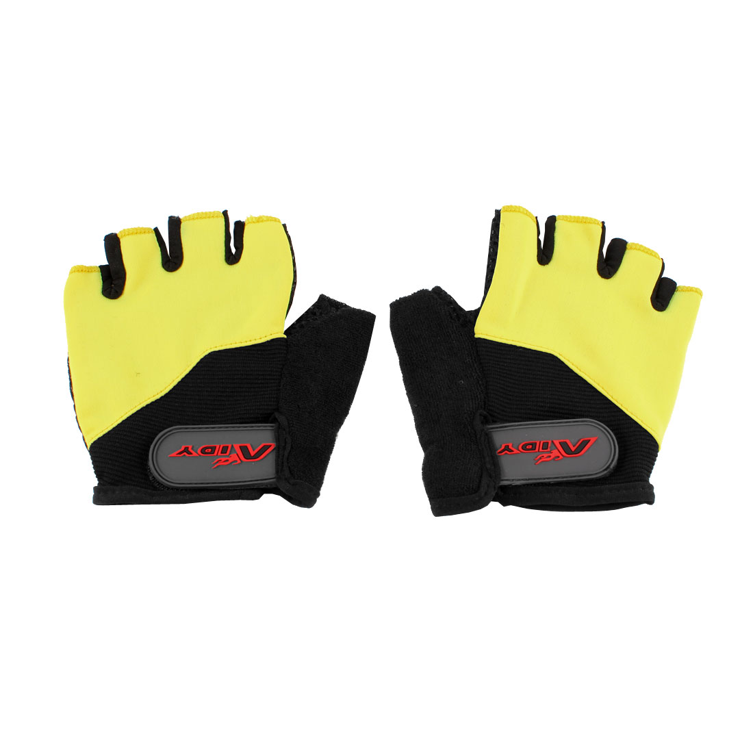 Pair Children Yellow Black Half Finger Skidproof Sports Racing Cycling Gloves