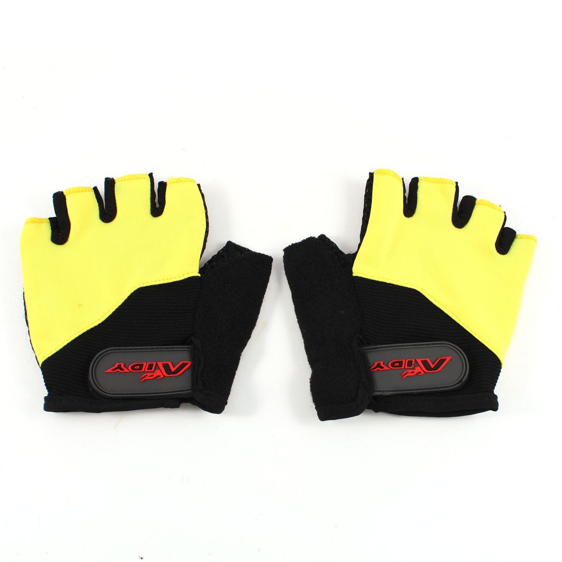 Pair Men Women Yellow Black Half Finger Skidproof Sports Cycling Gloves Size S