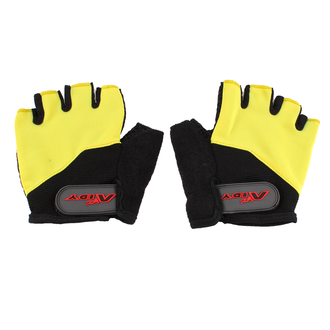Pair Outdoors Yellow Black Fingerless Skidproof Racing Bicyle Gloves