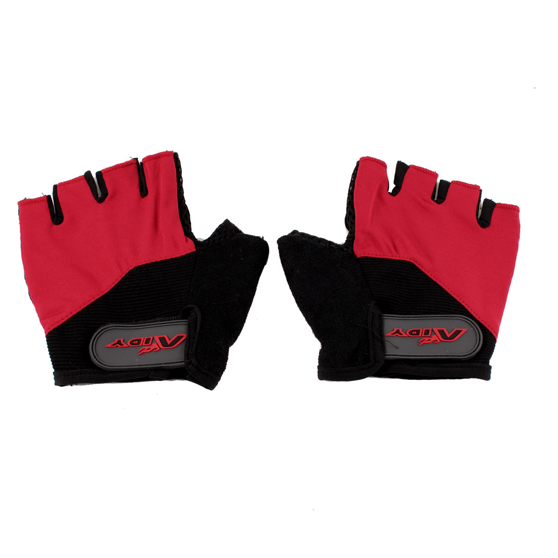 Pair Red Black Half Finger Skidproof Sports Racing Cycling Gloves