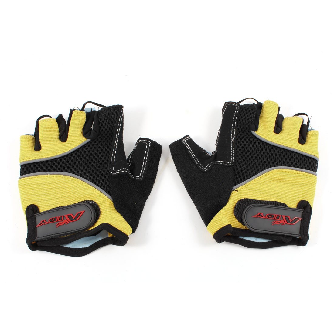 Pair Child Yellow Black Half Finger Skidproof Breathable Sports Cycling Gloves