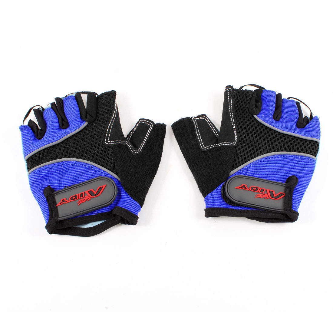 Pair Blue Black Half Finger Skidproof Breathable Sports Cycling Gloves Size S