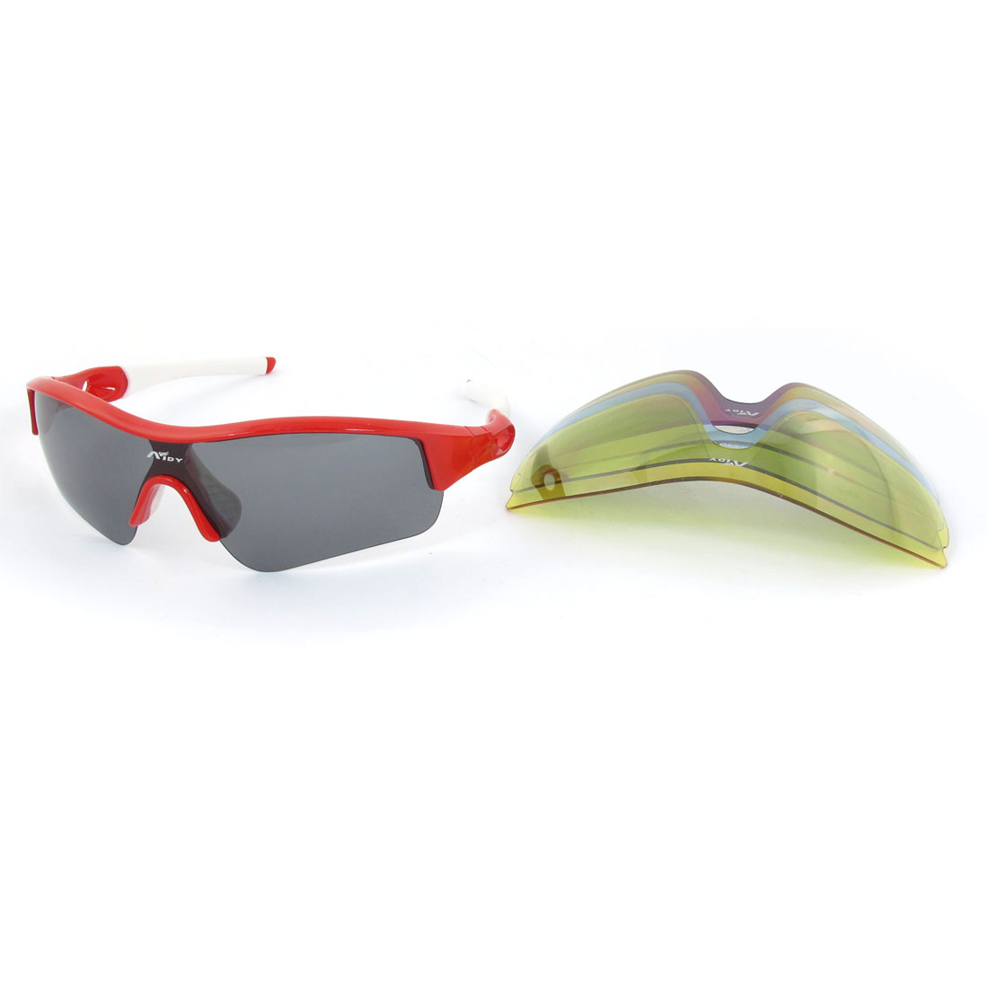 Rubber Coated Arm Half Rim Polarized Sunglasses Glasses White Red + Neck Strap