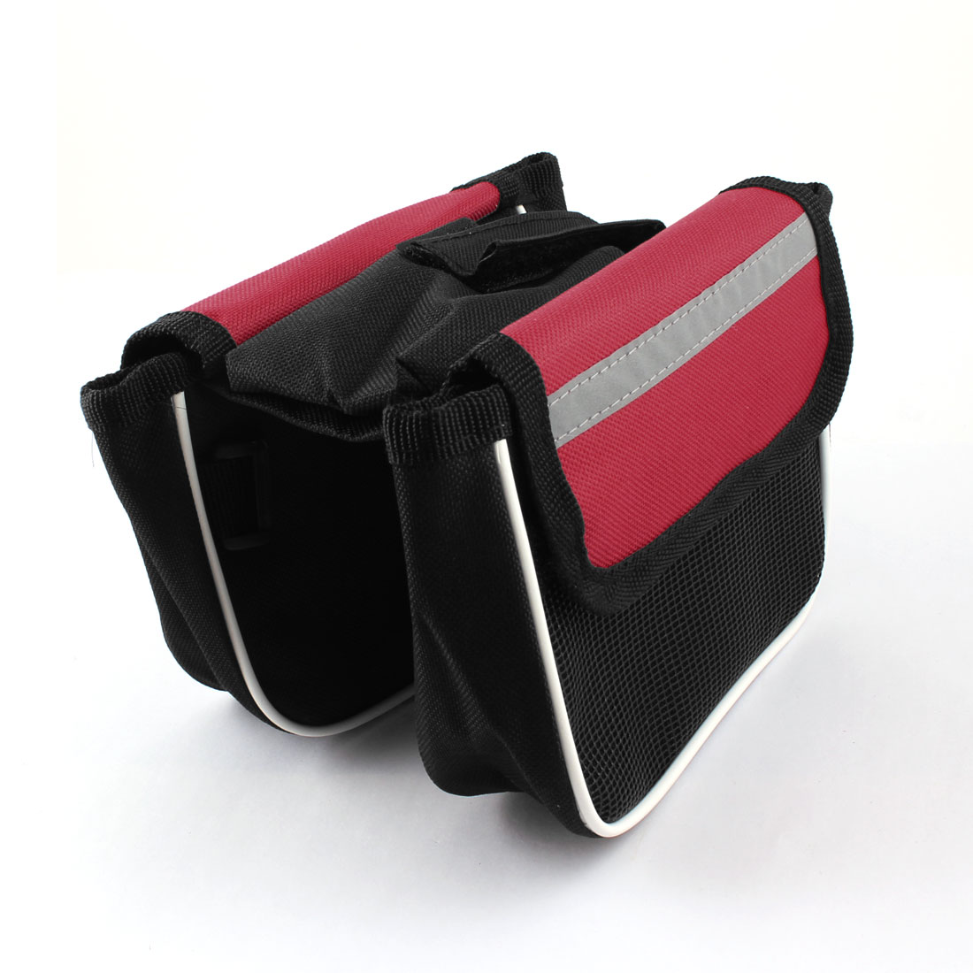 Bike Bicycle Travel Front Tube Black Red Double Saddle Bag