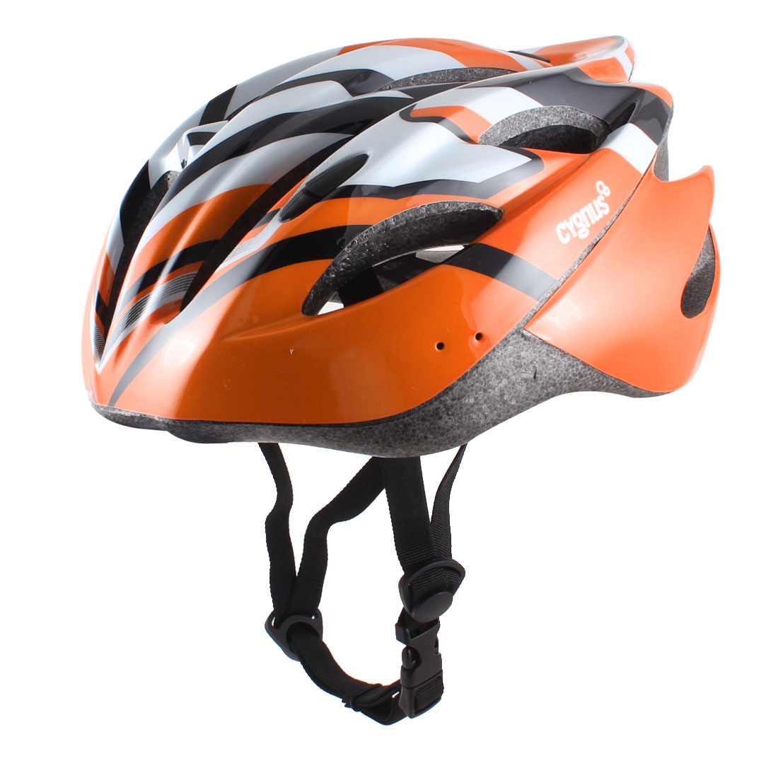 Man Women Adult Black Orange White Bicycle Bike Cycling Striped Foam Helmet