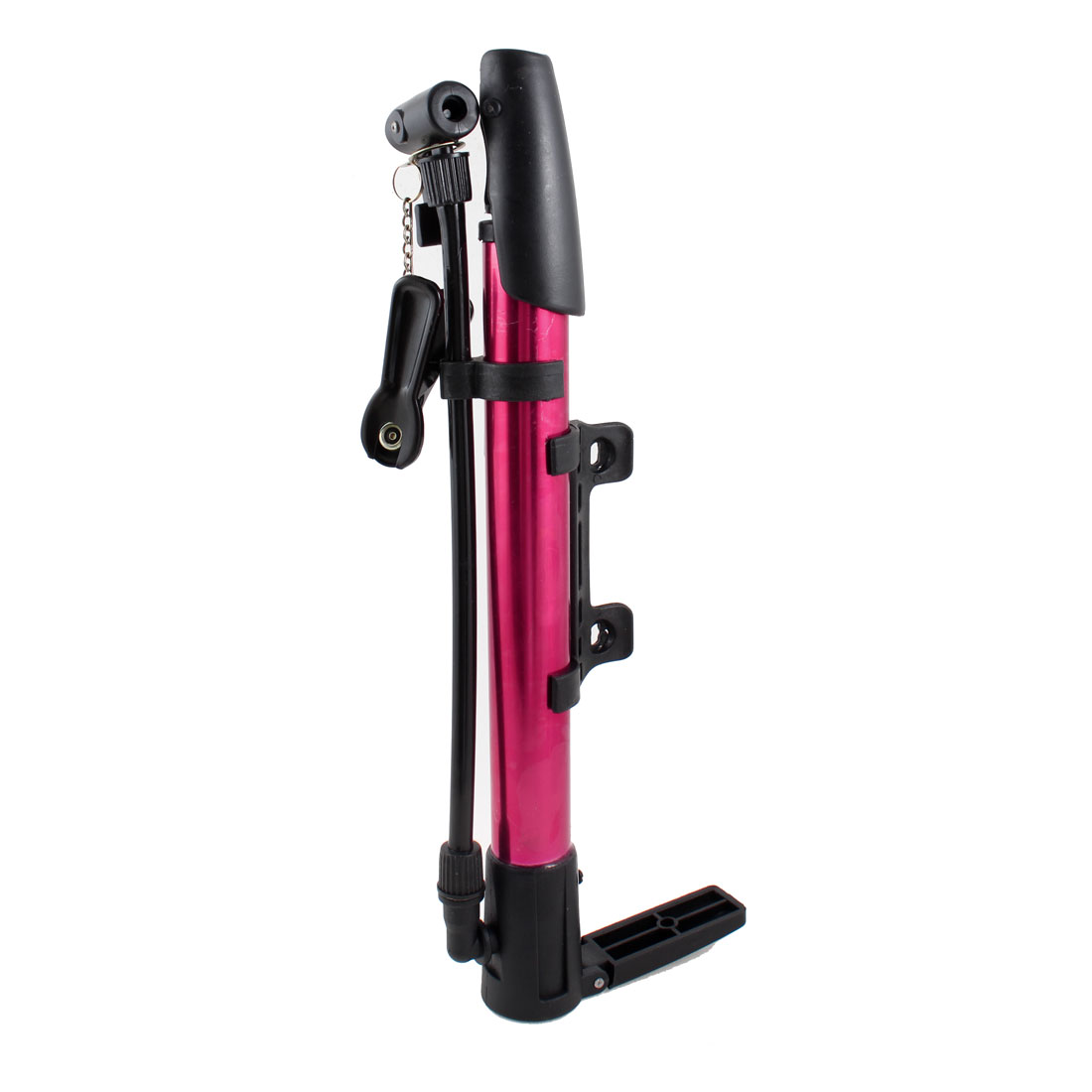 Bicycle Bike Tyre Manual Floor Pump Basketball Inflator Black Red