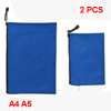 2 Pcs Dark Blue Nylon Zip Up Document File Bag Holder for A4 A5 Paper
