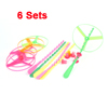 Kids Assorted Color Plastic Hand Spin Shooter Flying Disc Toys 6 Pcs