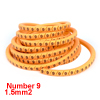 Orange PVC Arabic Number 9 1.5mm2 Wire Cable Markers Roll