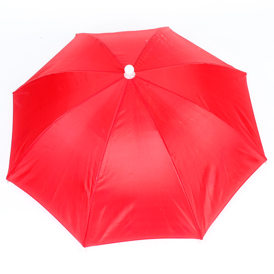 Outdoor Fishing Headwear Red Polyester Canopy Compact Umbrella Hat