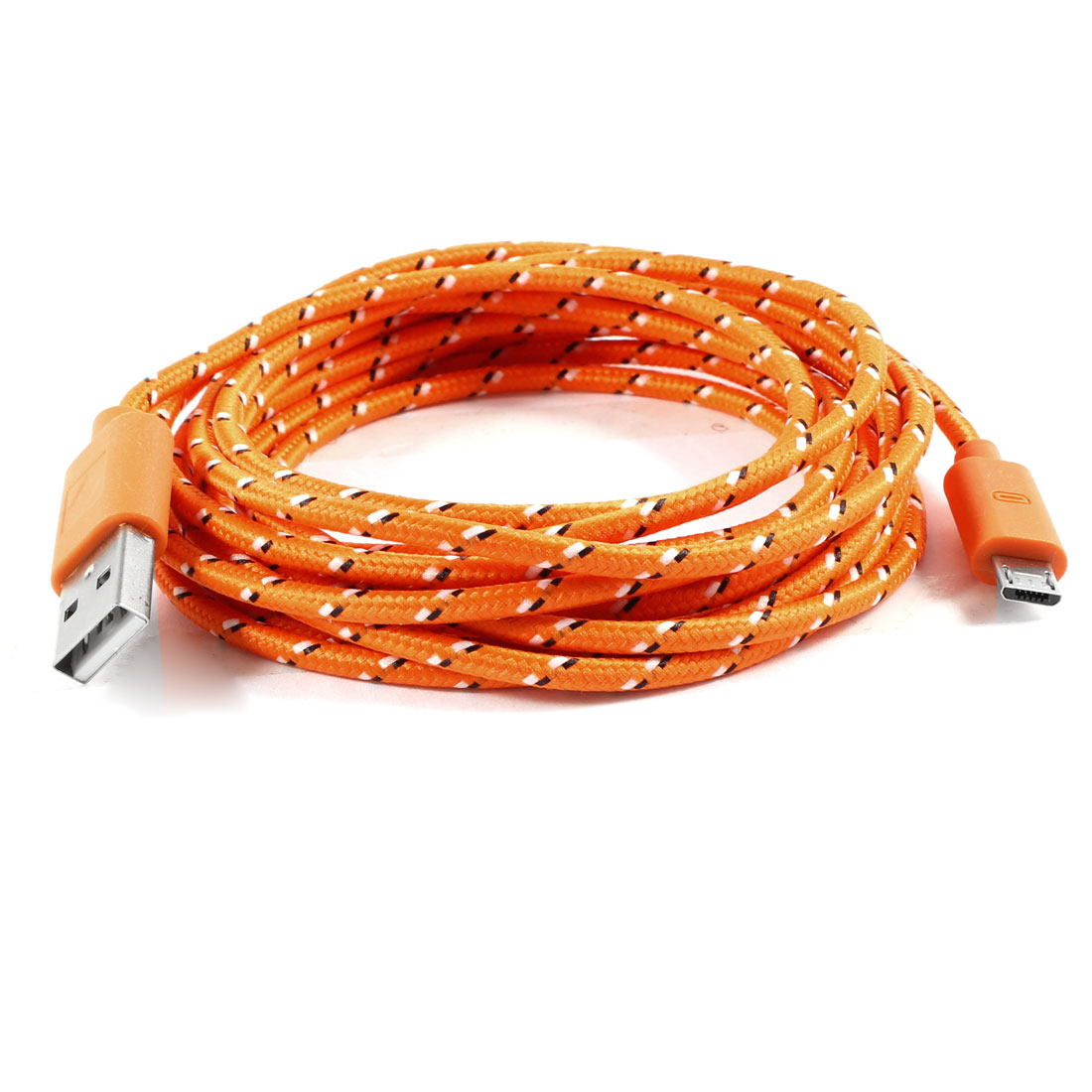3 Meter 10ft USB 2.0 to Micro USB Roud Data Charge Cable Orange for HTC Nokia