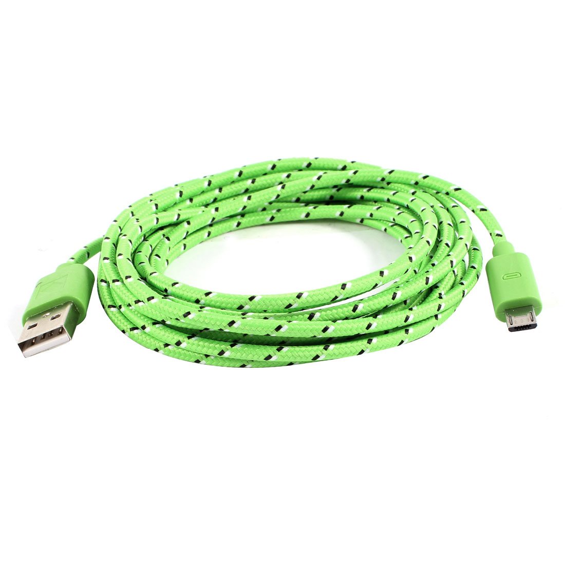 10ft USB 2.0 to Micro USB Roud Data Charge Cable Cord Green for HTC