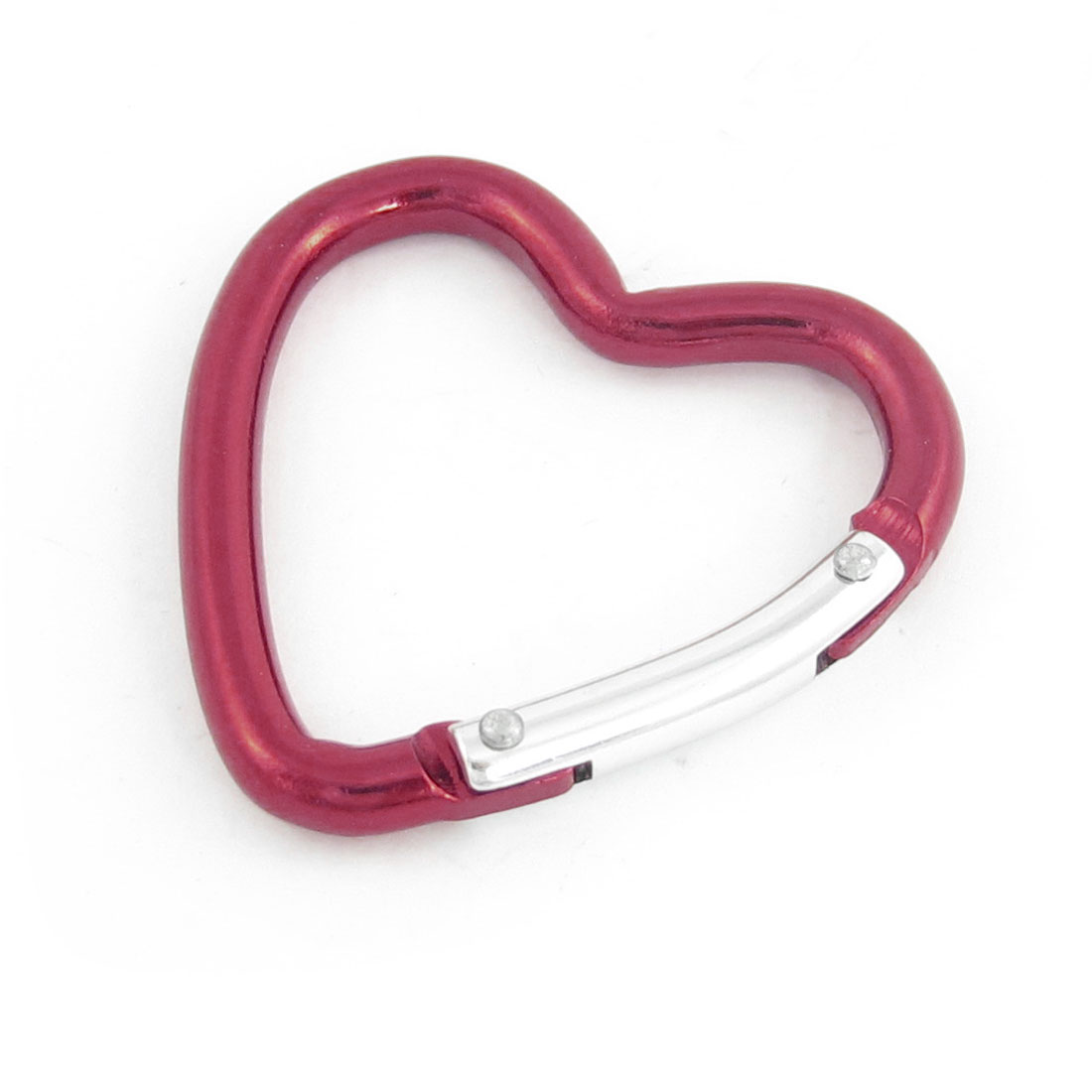 "Burgundy Aluminum Alloy 2.2"" Long Heart Shaped Carabiner Hook Clip Key Holder"
