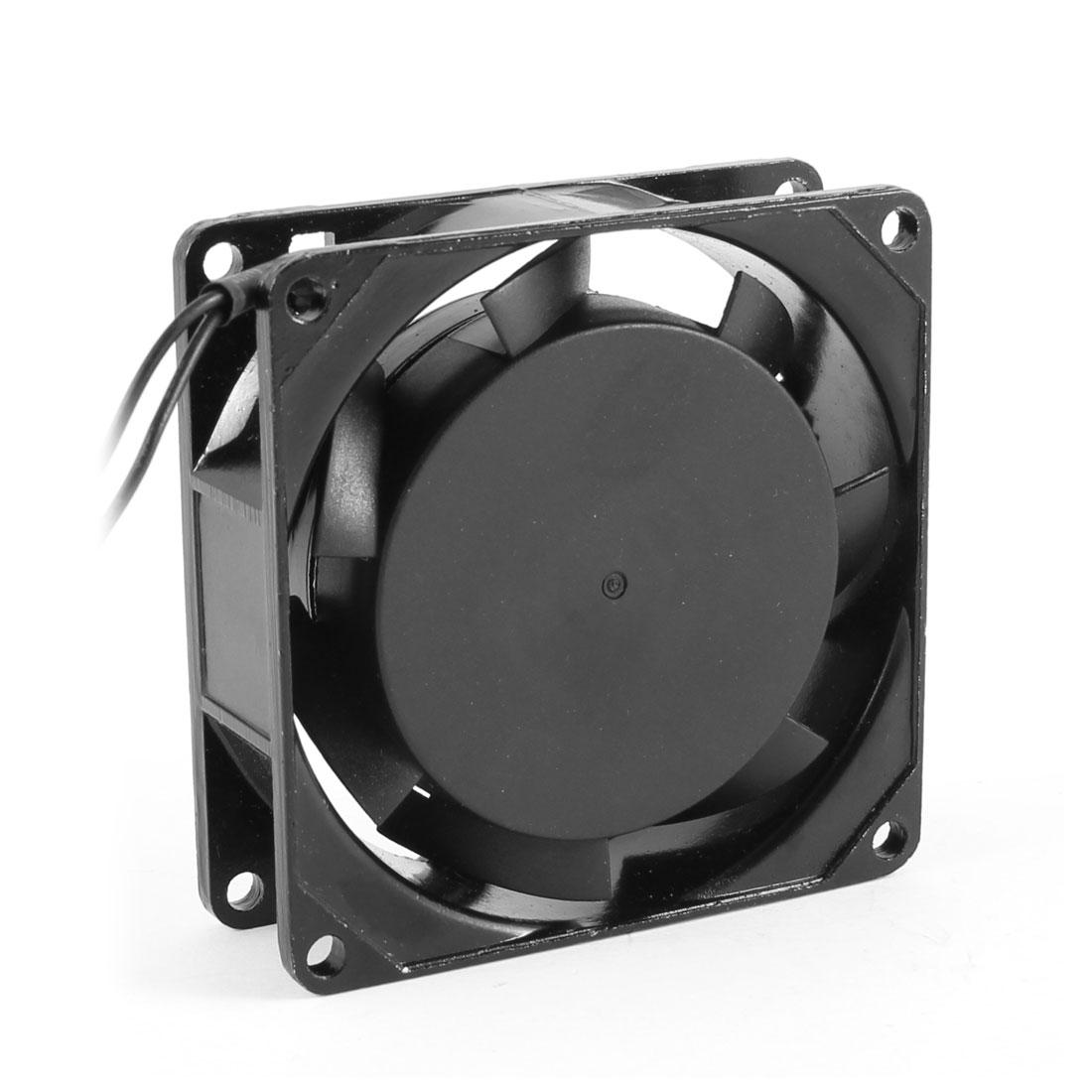 80mm x 80mm x 25mm AC 220V-240V Aluminum Cooler PC Case Cooling Fan Black