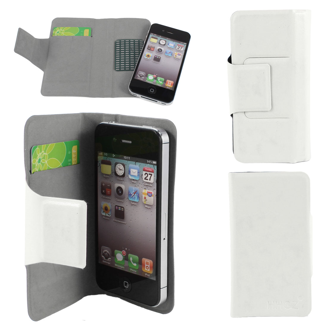 """White PU Leather Adhesive Flip Case Stand Card Holder for Cell Phone 4.5""""-4.9"""""""