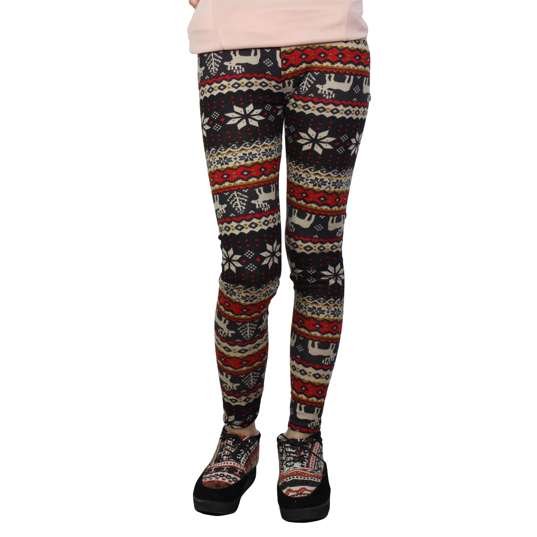 Elastic Waist Snowflake Print Assorted Color Legging XS for Women