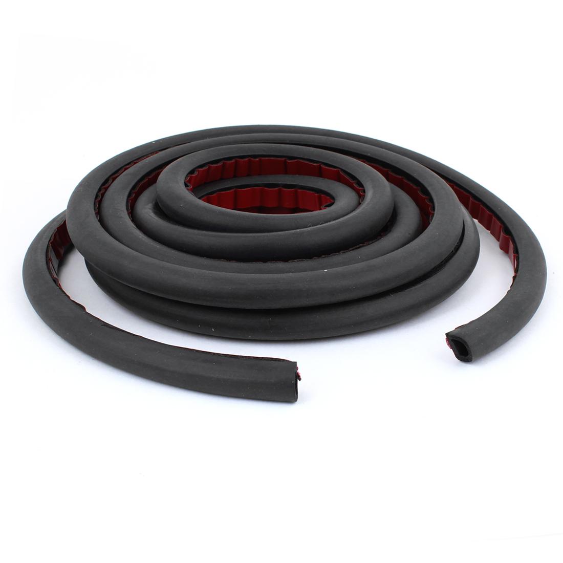 Black Rubber D Shaped Car Door Window Noise Sealing Strip 3.5 Meters Long