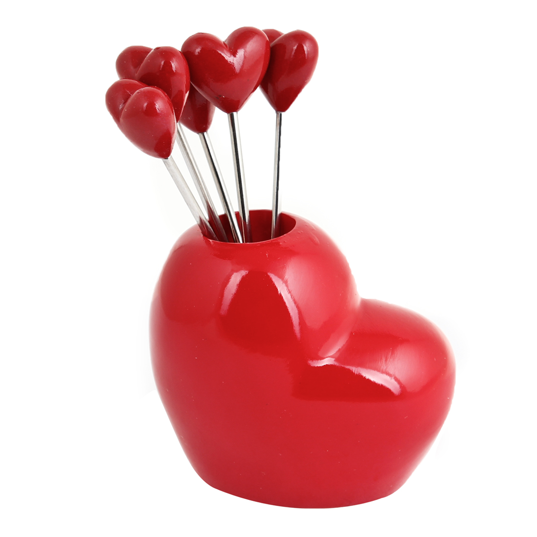 5 Pcs Household Red Heart Shaped Head Fruit Forks w Holder