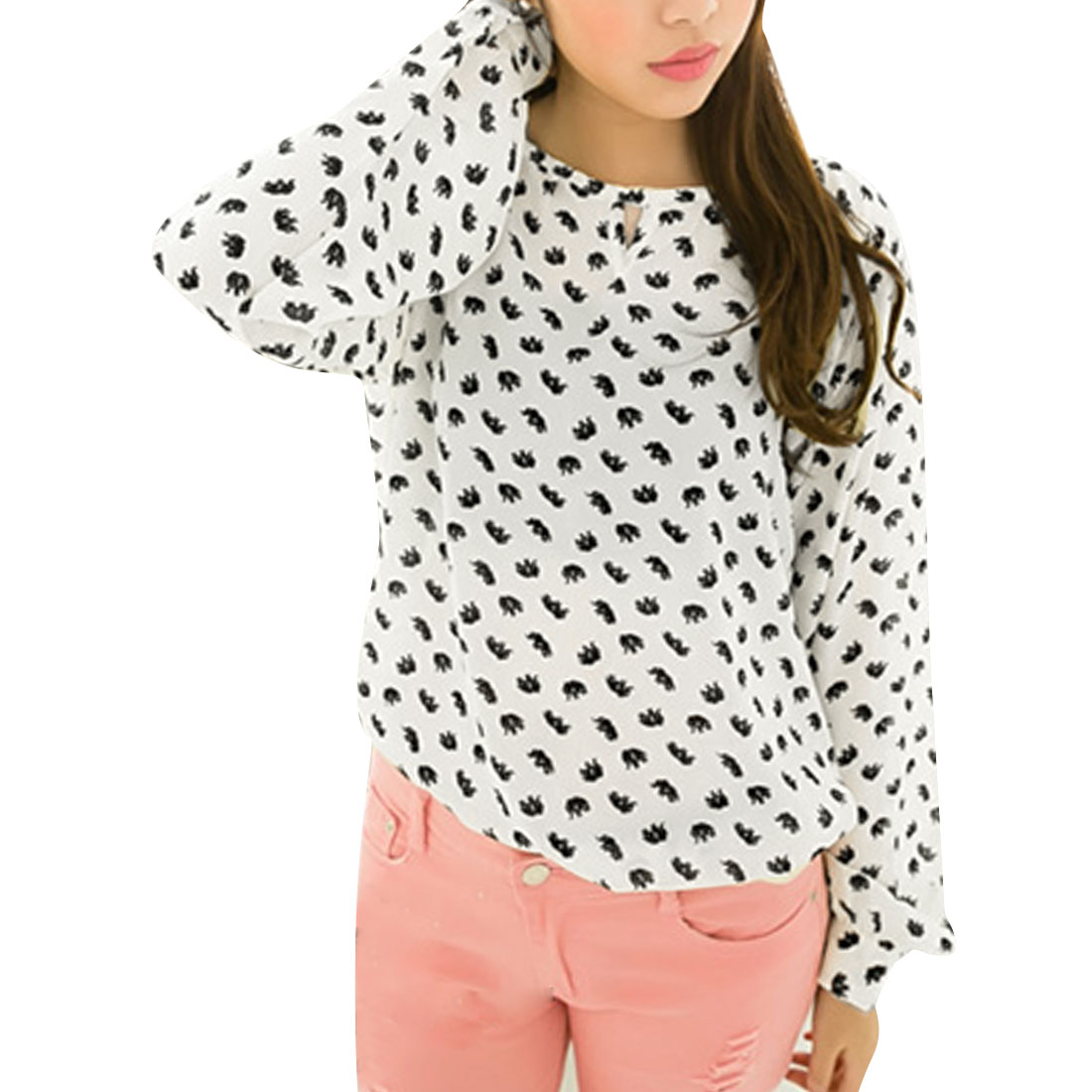 White Hollowed-out Elephant Prints Scoop Neckline Blouse for Ladies S