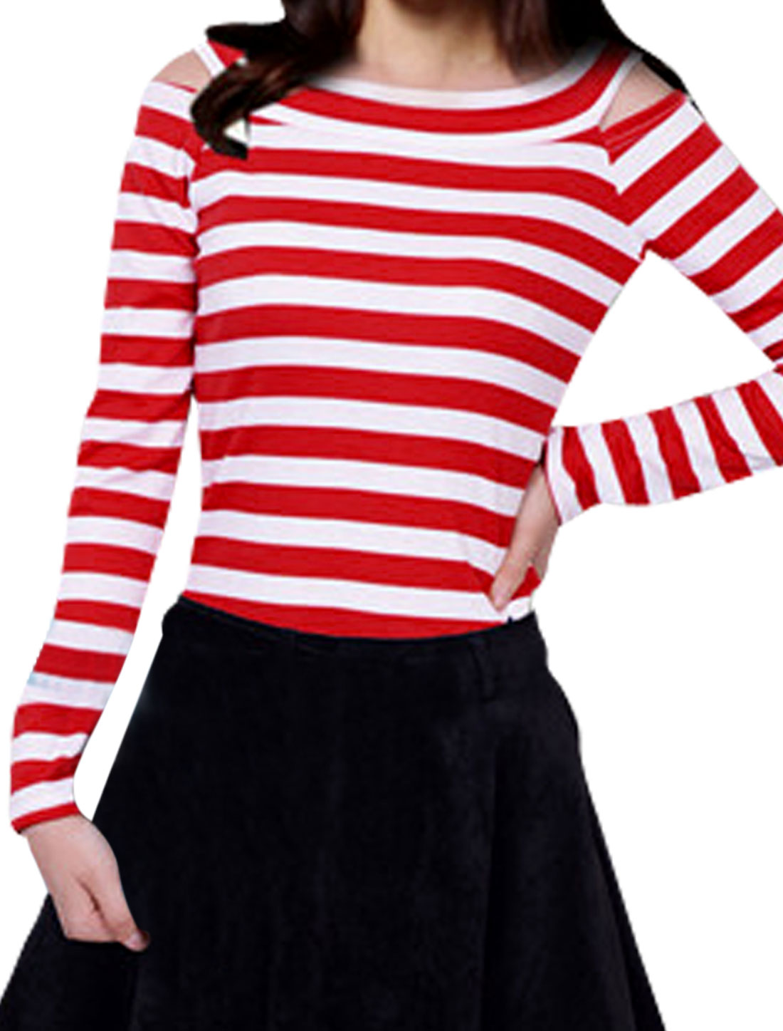 Red White Two-Tone Striped Cutout Shoulder Casual Shirt for Lady XS