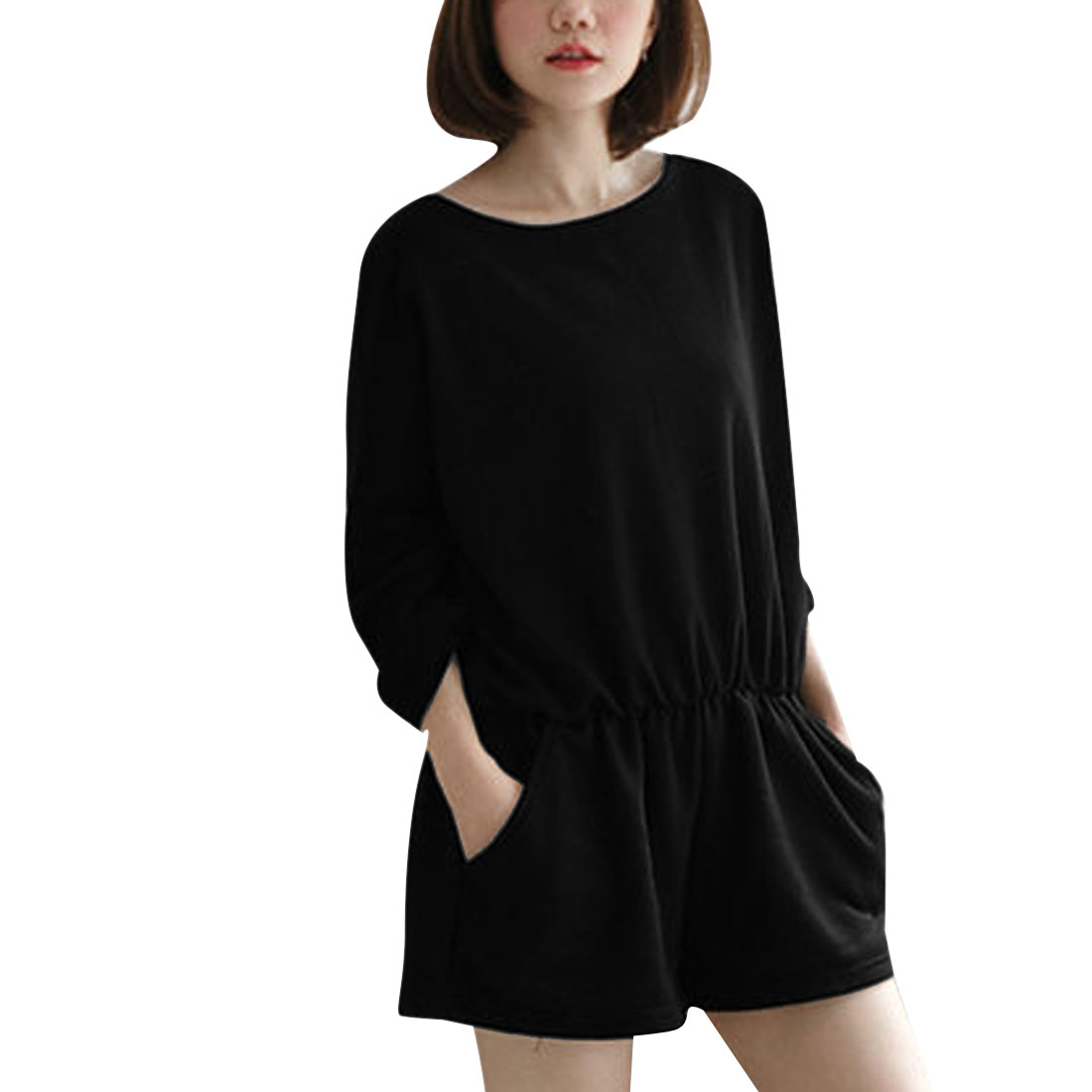Ladies' Round Neck Zip Back Bat Sleeve Elastic-waist Black Short Jumpsuits S