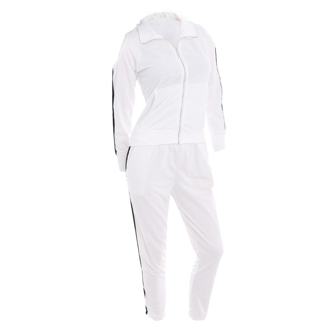 Women Convertible Collar Cut Out Tops & Elastic Waist Pants White XS