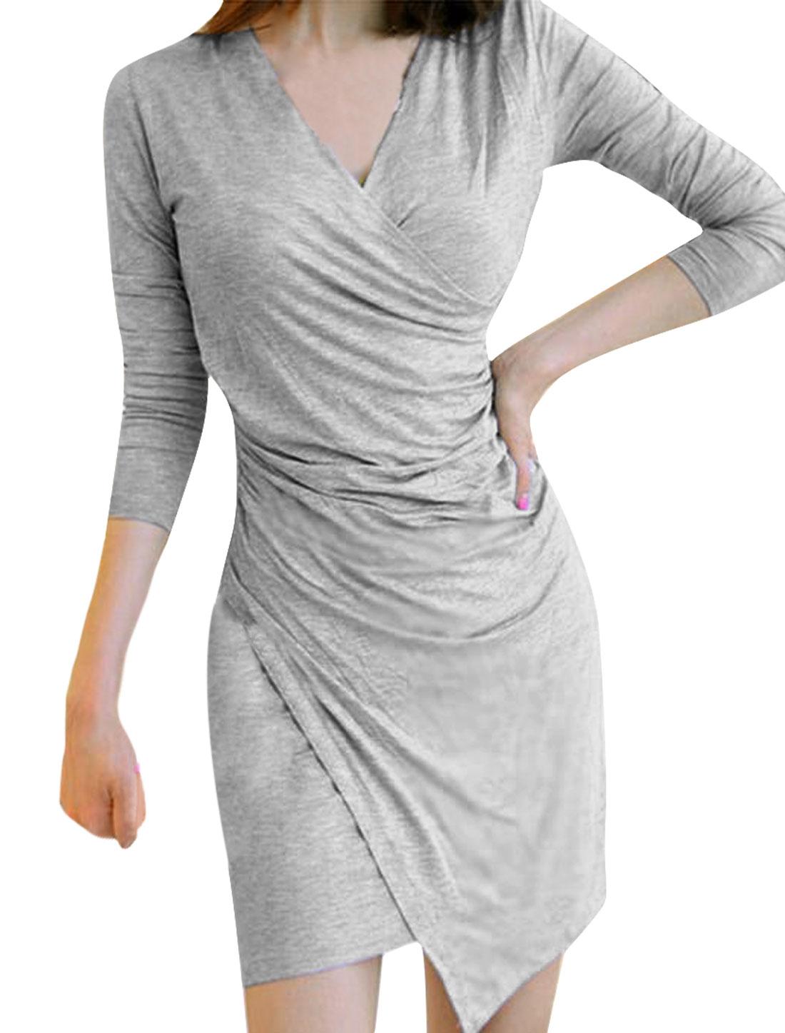 Lady V Neck Long-sleeved Elastic Pullover Design Gray Dress XS